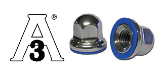 Domed cap nuts of stainless steel with gasket seal - USDA & 3A approved