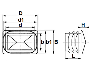 Rectangular domed end cap inserts - finishing plug - Visual inserts for rectangular tubes 50x20x1,5-2,0 black