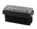 Rectangular end cap inserts with felt pad - Inserts with felt base for rectangular tubes 25x15 1,0-2,0 black