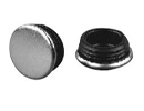 End cap inserts with stainless steel pad for round tube - Glides for round tubes with stainless steel V2A base 25mm black