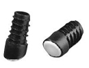 End cap inserts with angled base and PA pad for round tube - Angled glides for round tubes with PA base Ø25mm 18º-22º black