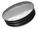 Round end cap inserts - nickelled metal cover - Round end cap insert with nickelled metal cover ø32mm 1-2mm