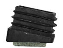 Square end cap inserts - angled base with felt - Inserts with angled bottom 25 x 25 10º black, with felt