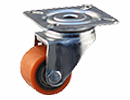 Apparatus swivel castor Ø50mm orange PU tire - top plate mount