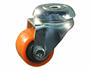 Apparatus swivel castor Ø50mm orange PU tire - bolt hole mount
