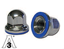 Dome nut stainless steel AISI304 with blue seal - hygiene 3A - M3