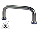 D-Handle Stainless steel AISI304 88/98mm M5 with blue seals - Hygiene 3A
